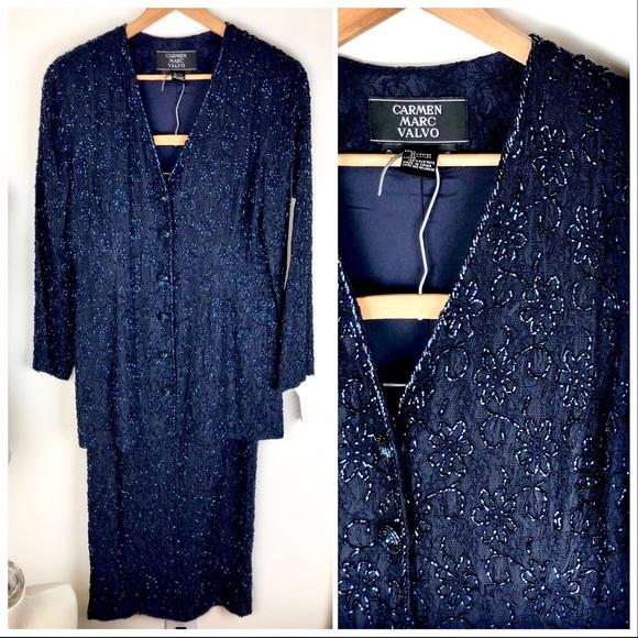 71b5dd9d3fa Carmen Marc Valvo Skirt Suit Set Beaded Floral